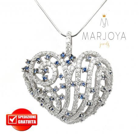 Collana con cuore traforato in argento 925 e pavè di zirconi bianchi e blu