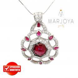 Collana con medaglione traforato in argento 925 e zirconi bianchi e rosso rubino