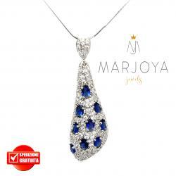 Collana con goccia pendente in argento 925 e zirconi bianchi e blu