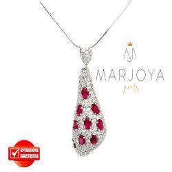 Collana con goccia pendente in argento 925 e zirconi bianchi e rosso rubino