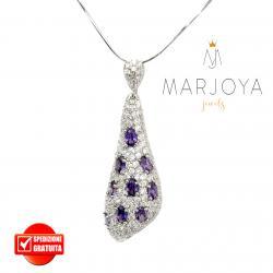 Collana con goccia pendente in argento 925 e zirconi bianchi e viola