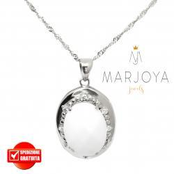 Collana con ovale alla russa pendente in argento 925 con zirconi e quarzo bianco