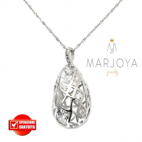 Collana con pendolo pendente in argento 925 con zirconi bianchi
