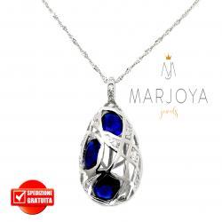 Collana con pendolo pendente in argento 925 con zirconi bianchi e blu