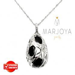 Collana con pendolo pendente in argento 925 con zirconi bianchi e neri