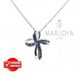Collana con croce pendente in argento 925 e zirconi blu