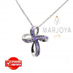 Collana con croce pendente in argento 925 e zirconi viola