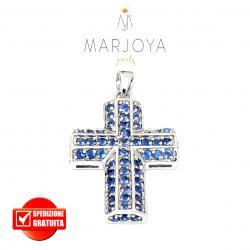 Croce pendente in argento 925 con pavè di zirconi blu