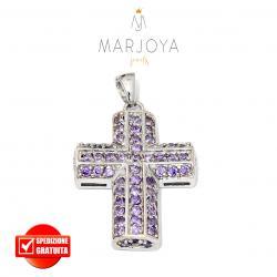 Croce pendente in argento 925 con pavè di zirconi viola