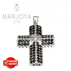 Croce pendente in argento 925 con zirconi neri