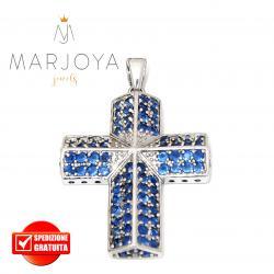 Croce pendente in argento 925 con zirconi blu
