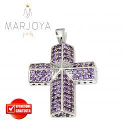 Croce pendente in argento 925 con zirconi viola