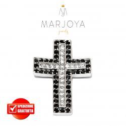 Croce pendente in argento 925 con zirconi bianchi e neri, bicolore