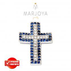 Croce pendente in argento 925 con zirconi bianchi e blu, bicolore