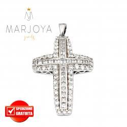 Croce pendente in argento 925 con zirconi bianchi