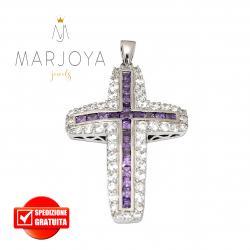Croce pendente in argento 925 con zirconi bianchi e viola, bicolore