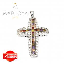 Croce pendente in argento 925 con zirconi multicolor, bicolore