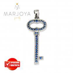 Chiave pendente in argento 925 con zirconi blu