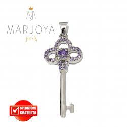 Chiave pendente in argento 925 con zirconi viola
