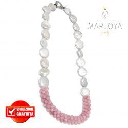 Collana in pietre dure con perle barocche e quarzo rosa in argento 925