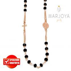 Rosario in argento 925 rosè collana girocollo con swarovski neri