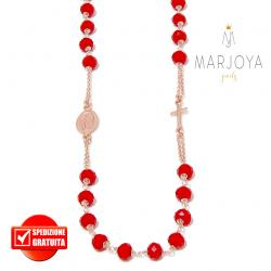 Rosario con swarovski rossi in argento 925 rosè,collana girocollo