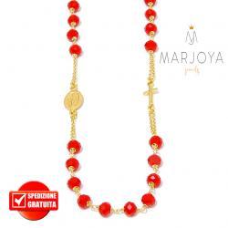 Rosario con swarovski rossi in argento 925 dorato collana girocollo