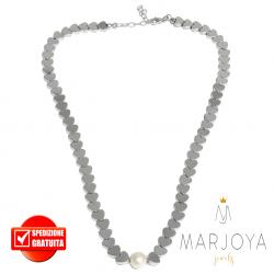 Collana girocollo corto con cuori di ematite e perla in argento 925