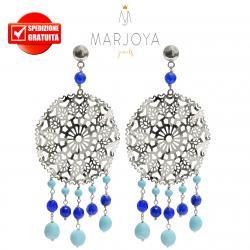 Orecchini pendenti alla zingara con turchese e quarzo blu in argento 925
