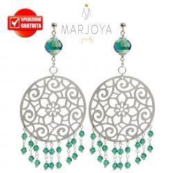 Orecchini pendenti alla zingara con swarovski verdi in argento 925