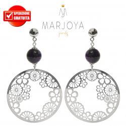 Orecchini pendenti con disco floreale e quarzo viola in argento 925