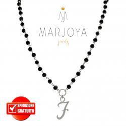 """Collana lunga con iniziale """"F"""", swarovski neri e argento 925, stile rosario"""