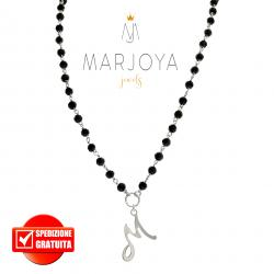 """Collana lunga con iniziale """"M"""", swarovski neri e argento 925, stile rosario"""