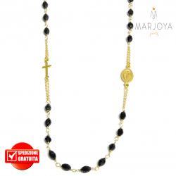 Rosario in argento 925 dorato, collana girocollo con barilotti swarovski neri