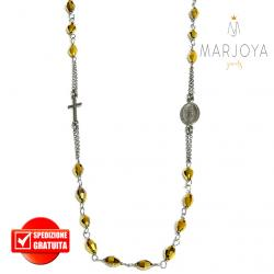 Rosario in argento 925 brunito,collana girocollo con barilotti swarovski oro