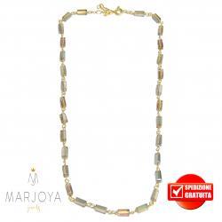 Collana girocollo stile rosario con baguette di swarovski arcobaleno e argento 925 dorato