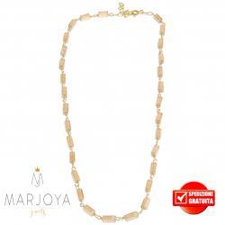 Collana girocollo stile rosario con baguette di swarovski beige e argento 925 dorato