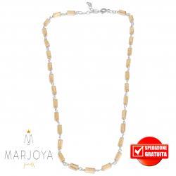 Collana girocollo stile rosario con baguette di swarovski beige e argento 925