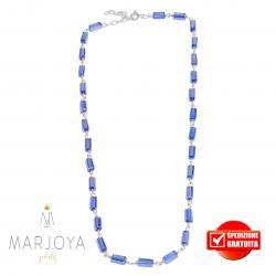 Collana girocollo stile rosario con baguette di swarovski blu e argento 925
