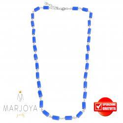 Collana girocollo stile rosario con baguette di swarovski bluetto e argento 925