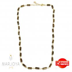 Collana girocollo stile rosario con baguette di swarovski bronzo e argento 925 dorato