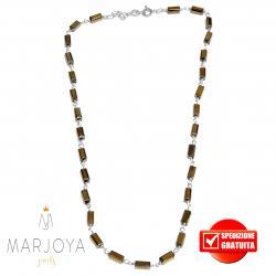 Collana girocollo stile rosario con baguette di swarovski bronzo e argento 925