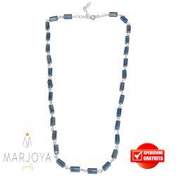 Collana girocollo stile rosario con baguette di swarovski grigio bluastro e argento 925 dorato
