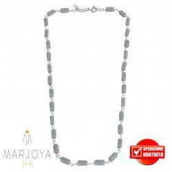Collana girocollo stile rosario con baguette di swarovski grigi e argento 925
