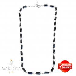 Collana girocollo stile rosario con baguette di swarovski nero boreale e argento 925