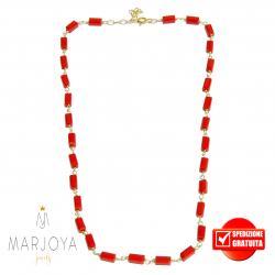 Collana girocollo stile rosario con baguette di swarovski rossi e argento 925 dorato