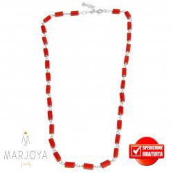 Collana girocollo stile rosario con baguette di swarovski rossi e argento 925