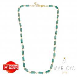 Collana girocollo stile rosario con baguette di swarovski verde scuro e argento 925 dorato