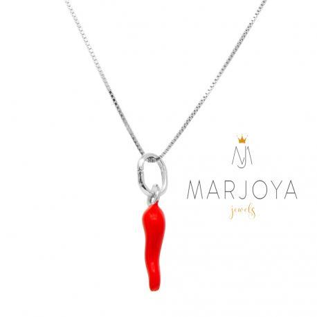 Collana con cornetto piccolo smaltato rosso in argento 925
