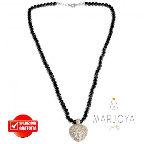 Collana girocollo corto con cuore zirconi e swarovski neri in argento 925